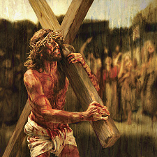 jesus carrying his cross tbq